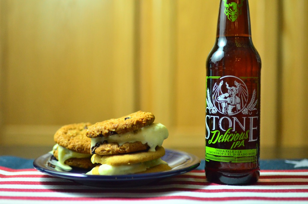 Stone Delicious IPA and Chocolate chip ice cream sandwiches. (Photo by Jess Vallery)